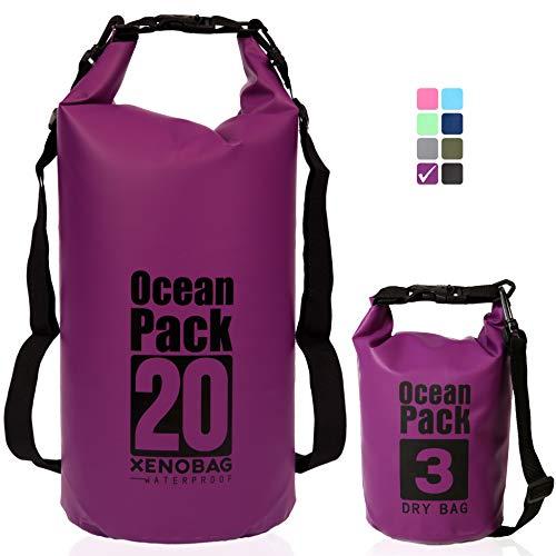 XENOBAG Wasserfeste Tasche 3 Liter/Dry Bag, klein/Ocean Pack 3l / wasserdichter Beutel/Drybag mit verstellbarem Schultergurt und Sicherheitsverschluss (Lila, 3 Liter)