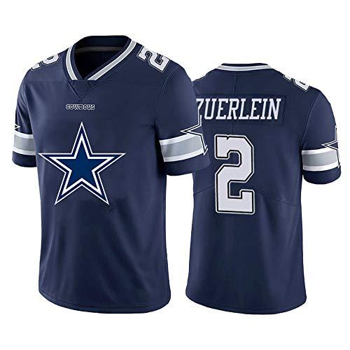 Greg Zuerlein # 2 American Football Trikot, Rugby Trikot 2# Dallas Cowboys, Fans Training T-Shirt Besticktes Kurzarm-Sweatshirt Sport Top-NavyBlue-M
