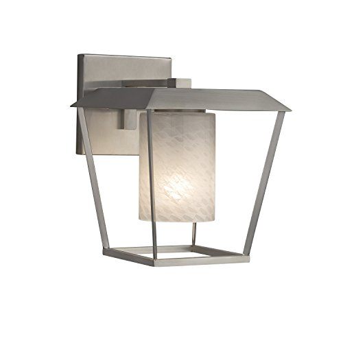 Limoges Dark Bronze Finish Atlantic Large Outdoor Wall Sconce Cylinder with Flat Rim Translucent Porcelain Shade with Waves Design