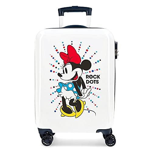 Trolley 3671765 Rigido Cabina Mickey Magic Dots, Bianco, 55 centimeters
