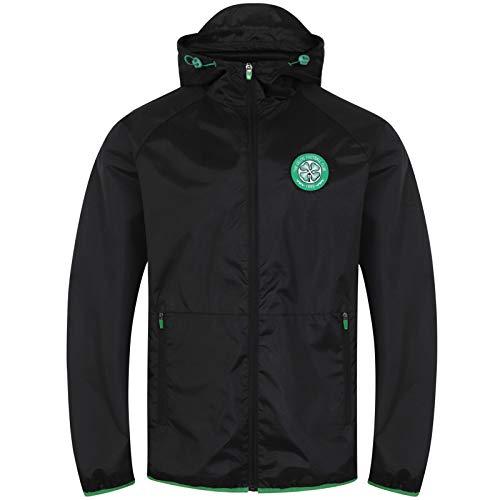 Celtic FC - Herren Wind- und Regenjacke - Offizielles Merchandise - Schwarz - Kapuze mit Schirm - XL