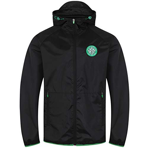 Celtic FC Official Gift Mens Shower Jacket Windbreaker Peaked Hood Black XL