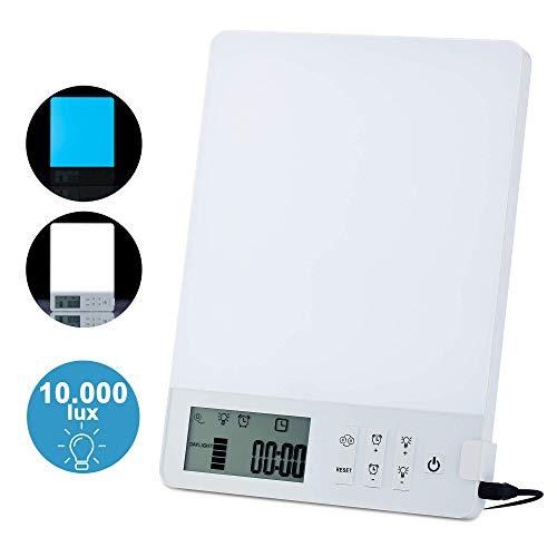 Daglichtlamp 10000 Lux Azhien, zonlicht-energielamp, draagbare UV-vrije lichtdouche 10000 Lux Led volledig spectrum, CRI> 92, instelbare helderheid, tegen winterblauwe depressie, kleur wit/blauw
