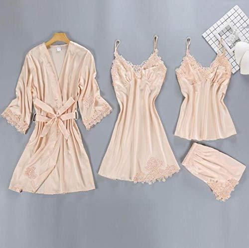 YUHOOE Damen-Pyjama,4 Stück Pyjama Für Frauen Anzug Satin Seide Pyjama Set Schlaf Lounge Home Anzug Mit Brustpolster Nachtwäsche Kleidung Beige, XL
