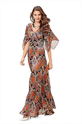 Burda 6583 Schnittmuster Abendkleid mit drapiertem Vorderteil und weitem Rock Flatterärmel (Damen, Gr. 34-46)