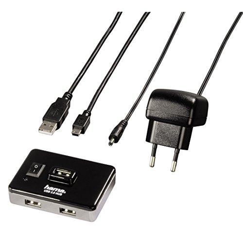 Hama 4-Port USB-2.0 Hub (mit Netzteil und Ein-/Ausschalter, kompatibel auch mit Windows 10) schwarz/silber