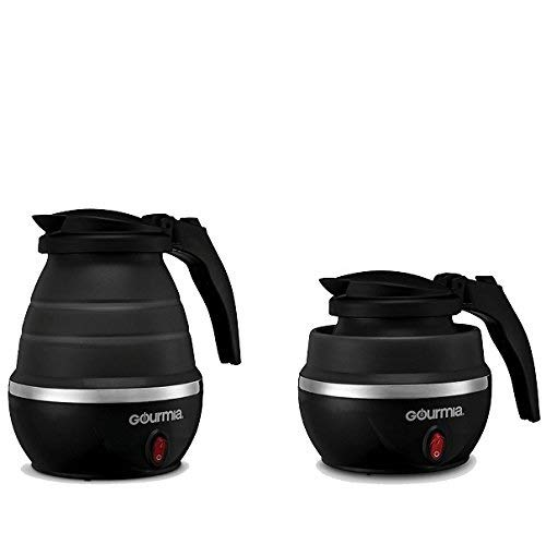 Gourmia GK360 Travel Foldable Electric Kettle – Fast Water Boiling – Food Grade Silicone – Small, Collapsible, Portable – Boil Dry Protection – .8 Qt – 110/120v – 820W (Black)