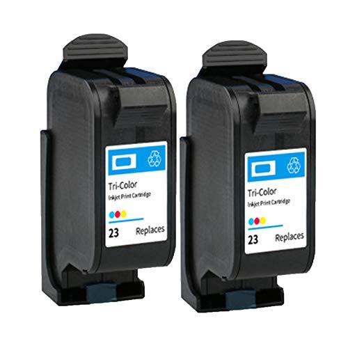 HAUYZ Cartucho de Tinta Compatible para 23, Adecuado para Impresora HP DeskJet 710C 712C 720C 810C, Azul Amarillo Rojo 2 Black
