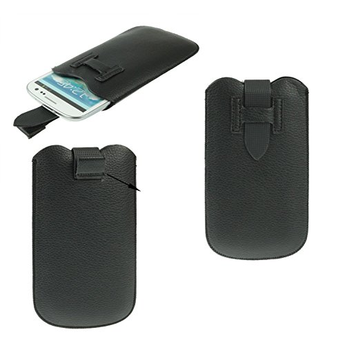 DFVmobile - Etui Tasche Schutzhülle aus Premium Kunstleder mit Rausziehband& Sicherheitsverschluss für jiayu g2 / g2+ Plus - Schwarz