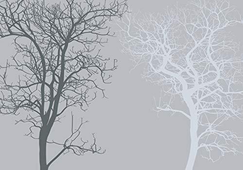wandmotiv24 Fototapete Baum grau Wald XL 350 x 245 cm - 7 Teile Fototapeten, Wandbild, Motivtapeten, Vlies-Tapeten Abstrakt, Düster, dunkel M3604