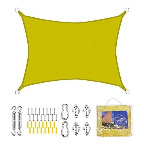 FLOFIA Toldo Vela de Sombra Rectangular Oxford 3 * 2m/3m/4m (Colores-Tamaños Variados) con Kit Montaje para Toldo y Bolsa de Almacenar, para Protección Rayo UV, Resistente Impermeable