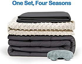 BUZIO Weighted Blanket 4 Piece Set with 2 Removable Duvet Covers & 1 Weighted Sleep Mask, Heavy Blanket for Hot & Cold Sleepers - Kids or Adults (48 x 72 inches - 15 lbs, Ivory White)
