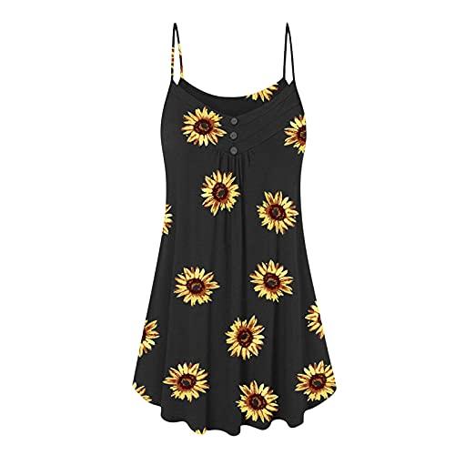 Lange tanktop voor dames, zomer, mouwloos, V-hals, T-shirt, dames, sexy, strand, bedrukt, zonnebloem, top, grote maat, blouse. - zwart - XXL