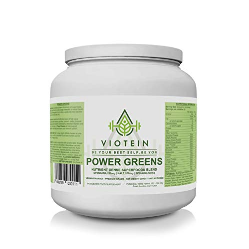 Power Greens - Supergreens Powder - 250g - 50 Servings - Vegan Friendly - Spirulina Wheat Grass Alfalfa Barley Grass Green Tea and More!