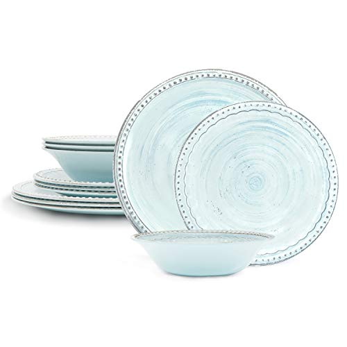 Zak Designs French Country House Melamine 12 Piece Dinnerware Set Includes Dinner, Salad Plates, and Individual Bowls (Lavage Sky)
