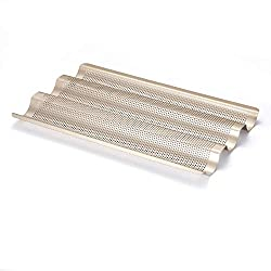 "French Bread Pan Baguette Baking Tray Perforated 3-slot Non Stick Bake Loaf Mould 15inch (baguette pan). A good baguette pan is essential! <a href=""https://www.amazon.com/gp/product/B073Z8SW4X/ref=as_li_tl?ie=UTF8&amp;camp=1789&amp;creative=9325&amp;creativeASIN=B073Z8SW4X&amp;linkCode=as2&amp;tag=ris15-20&amp;linkId=a0f655b5d9cae6b7812ee361e31c4860"" target=""_blank"" rel=""nofollow noopener""><span style=""text-decoration: underline; color: #0000ff;""><strong>Buy yours today on Amazon.</strong></span></a>"