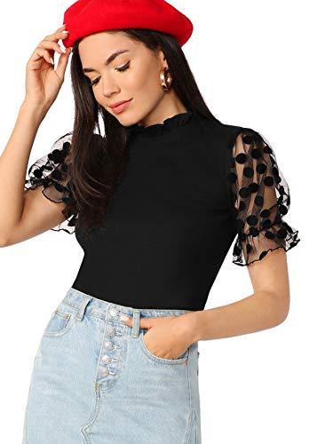 Romwe Women's Summer Short Sleeve Mock Neck Casual Blouse Tops Mesh Black Medium