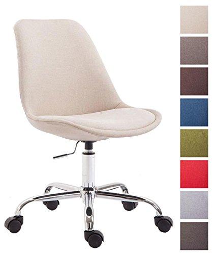 CLP Bürostuhl Toulouse mit Stoffbezug | Schreibtischstuhl mit Laufrollen | Drehstuhl mit Metallgestell in Chrom-Optik | Mit Farbwahl Creme
