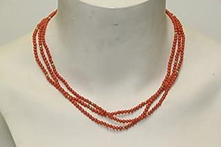 Unbekannt Chaîne inconnue Collier Multi-Rangs Corail Vintage années 1950 Doré