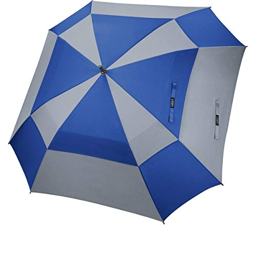 G4Free Extra Large Golf Umbrella Double Canopy Vented Square Umbrella Windproof Automatic Open 62 Inch Oversize Stick Umbrella for Men Women (Blue+Grey)