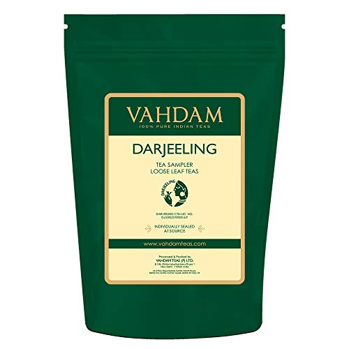 VAHDAM, Darjeeling T Sampler - 10 TEAS, 50 porzioni | Foglia sciolta al 100% puro non Darjeeling Unblended | Darjeeling First Flush, Second Flush, Autumn Flush - Brew Hot o Iced - Tea Variety Pack, 100g