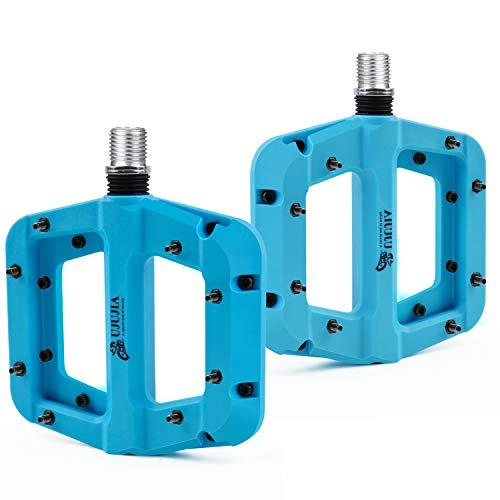 UJUJIA Fahrradpedale Nylon Composite Flatpedale, Mountainbike Rennrad Fahrradpedale, 9/16 Mountain Bike Pedale 3 Bearing rutschfest Wasserdicht Anti-Staub (Blau)