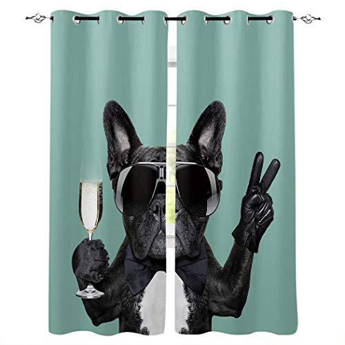 3D Cortinas Opacas Perro Verde Azul Blanco Negro Animal con Gafas de Sol Termicas Aislantes Frio Calor Reduccion Ruido Proteccion Intimidad para Adulto/Sala de Niños 85x200cm x2