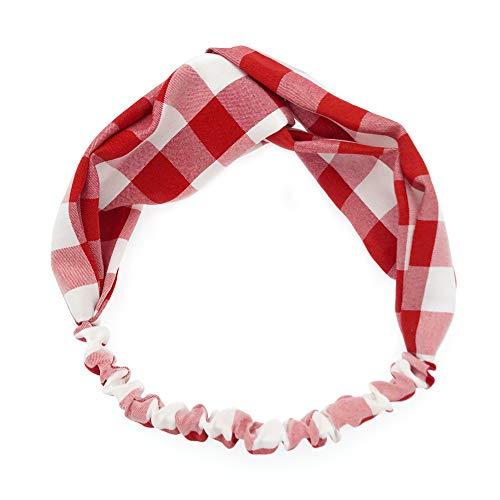 BIGBOBA Accessoires De Cheveux Bandeau Bande De Cheveux Bande De Cheveux à Carreaux Bandeau en Tissu Couvre-Chef Femme Taille 27cm * 5.5cm (Rouge)