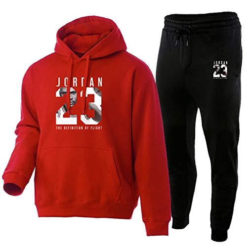 TYYD Jordan 23 # - Conjunto de 2 piezas para hombre, sudadera con capucha de baloncesto, pantalones con cordón para otoño e invierno, ropa deportiva para correr, ropa de entrenamiento, color rojo