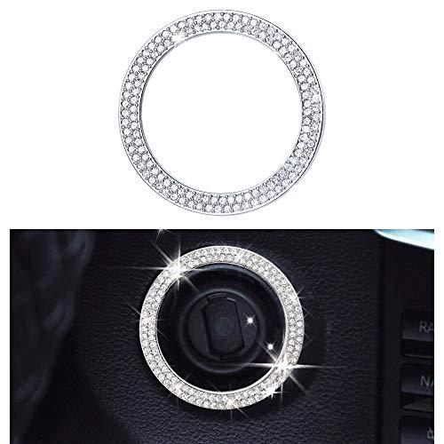 VDARK kompatible Motorkappen für Mercedes Benz Zubehörteile Bling Start Stop Drucktaste W205 C117 X156 X253 C CLA GLA GLC Klasse Covers Decals Innendekoration AMG Women Men Crystal Strone (Silber-1)