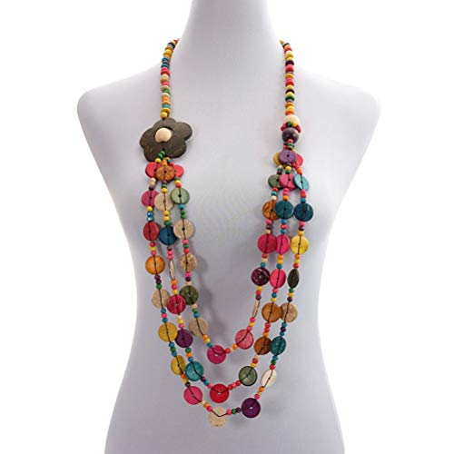 Amosfun Vintage antique woven beaded Bohemia pendent Necklace with Coconut Shell Charms for Ladies and Girls (colorful)