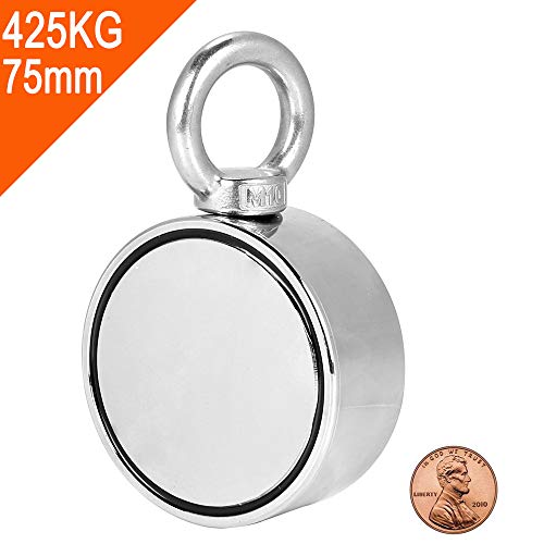 425kg fuerza 7,5cm Ø : imán doble cara con gancho: ideal pesca magnética profesional
