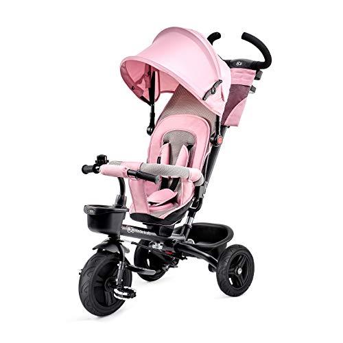 Kinderkraft Triciclo Plegable AVEO, Asiento Giratorio, Hasta 5 Años, Rosa