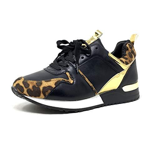 Angkorly - Zapatillas Moda Zapatilla - Sneakers Bajo Suela Grande Streetwear Mujer Estampado de Leopardo Dorado Tacón Ancho Alto 2,5 CM - Negro 3 2019-A21 T 39