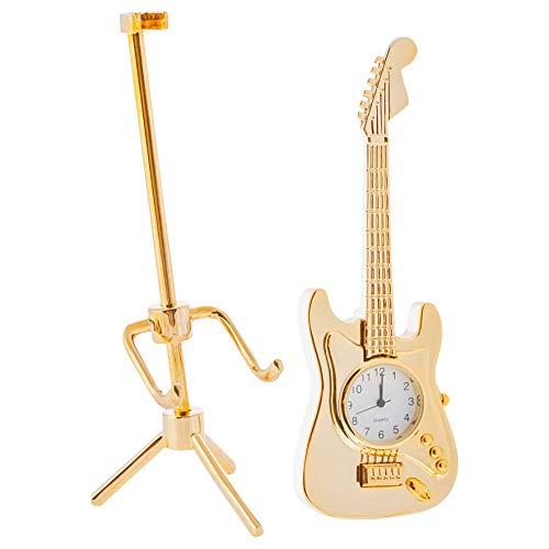 Gold Guitar Tripod Tabletop Clock