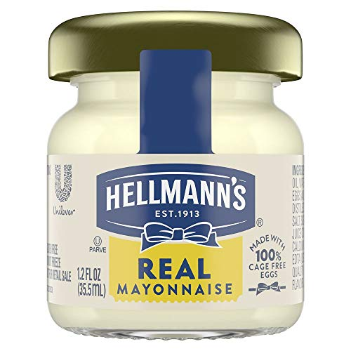 Hellmann's Real Mayonnaise Mini Jars Made with 100% Cage Free Eggs, Gluten Free, 1.2 oz, Pack of 72
