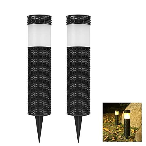 Kemini Lámparas solares para exteriores, 2 unidades, iluminación solar de jardín, simulación de ratán, lámpara de jardín IP65 resistente al agua, antorchas de jardín con estaca para el suelo