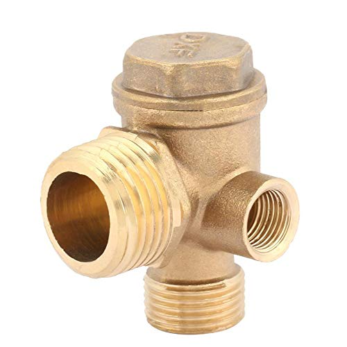 Toolstar Kompressor-Rückschlagventil, 3 Anschlüsse, 90 Grad, Messing, Luftkompressor, Rückschlagventil, Rohrverbinder-Werkzeug