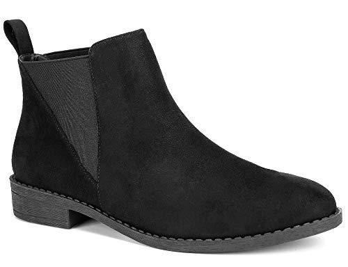 MaxMuxun Women Black Faux Suede Booties Low Block Heel Comfort Classic Elastic Chelsea Ankle Boots Size 9