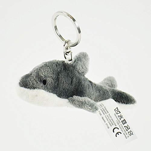 Peluche de delfín de delfín con llavero, figura de peluche de 11 cm, azul, mar | juguete | regalo | niños | niña | niño | marítimo | océano | tiburón blanco | gris