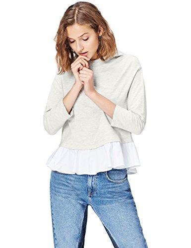 Amazon-Marke: find. Hoodie Damen mit Schößchen und Layering-Look, Grau (Grey Mix), 36, Label: S