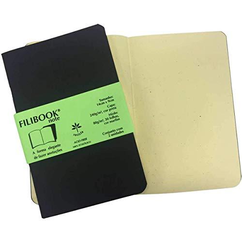 Caderneta, Filiperson, Filibook Note, 03949, 14x9cm, Preto, 2 Unidades