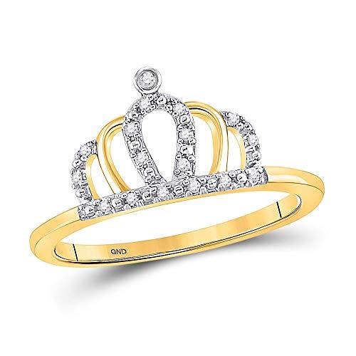 Diamond2Deal Anillo de oro amarillo de 10 quilates con corona de diamante redondo tiara princesa para mujer 1/20 Cttw