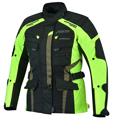 Motorradjacke Damen Mit Protektoren Textil Wasserdicht Winddicht Neon Gelb (XL)