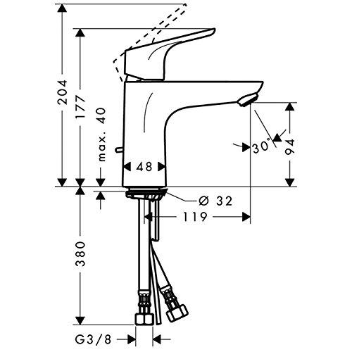 Hansgrohe – Waschtisch-Einhebelmischer, Ablaufgarnitur, Temperaturbegrenzer, Chrom, Serie Focus 100 - 5