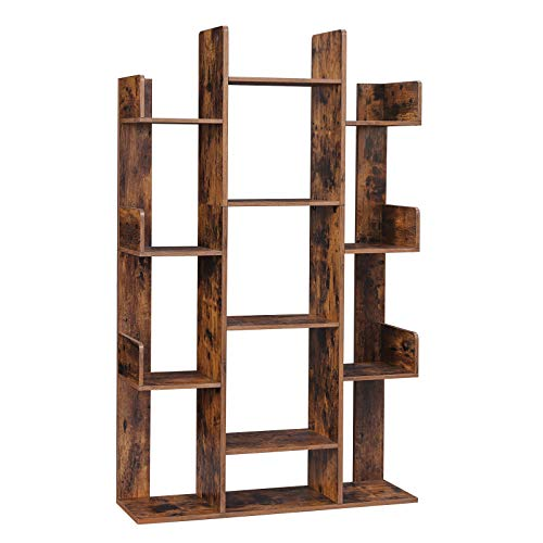 "VASAGLE Bookshelf, Tree-Shaped Bookcase with 13 Storage Shelves, Rounded Corners, 33.9""L x 9.8""W x 55.1""H, Rustic Brown ULBC67BXV1"