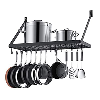 KLXHOME Square Grid Wall Mounted Pot And Pan Organizer Shelf With 15 Hooks, 29.5 by 13.7-inch (Black) from KLXHOME