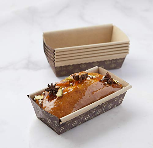 Rectangular Paper Loaf Pan Molds Small Size - 6''x2.5''x2'' - 25pcs