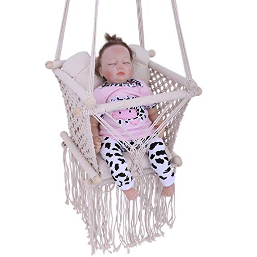 yuai Secure Canvas Hanging Swing Seat Children, Children Indoor Outdoor Hammock Hanging Rope Chair