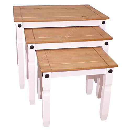 Mercers Furniture Corona Beistelltisch-Set, Weiß, ineinander stellbar